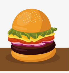 Hamburger delicious isolated icon vector