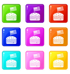 hamburger icons 9 set vector image