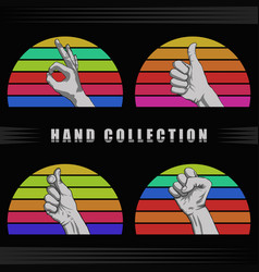 Hand retro sunset vector