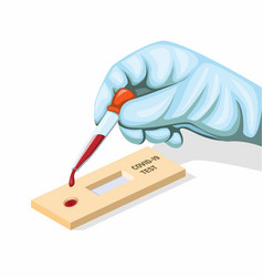 Hand wear glove blood sample covid-19 rapid test vector