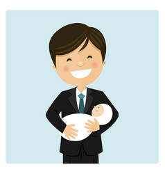 Happy dad taking care his baby and blue background vector