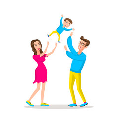 happy family dad and mom threw son up parents vector image