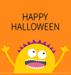 Happy halloween card screaming spooky yellow vector