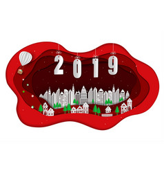 happy new year 2019 with white city on red scene vector image