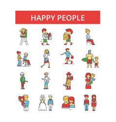 happy people thin line icons linear vector image