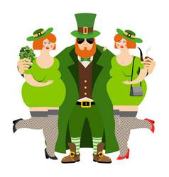 happy stpatrick s day leprechaun and beautiful vector image