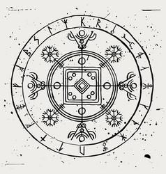 hulinhjalmur runic galdrastafir magical sign vector image