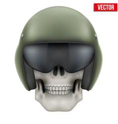 Human skull with aircraft marshall helmet vector