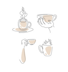 in line style set cups vector image