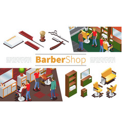 isometric barbershop elements collection vector image