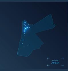 Jordan map with cities luminous dots - neon vector