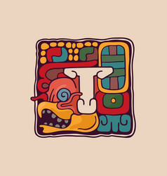 Letter t logo in aztec mayan or incas style vector