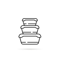 Linear stack plastic food containers vector