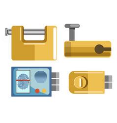 locks and padlocks isolated icons fingerprint vector image