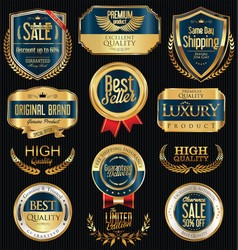 Luxury golden retro labels collection 4 vector