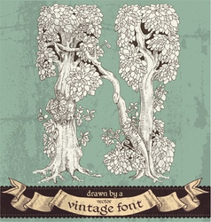 Magic grunge forest hand drawn by vintage font - N vector