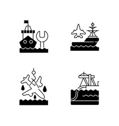 Maritime sector black linear icons set vector