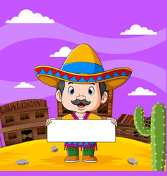 mexican boy hold blank board vector image