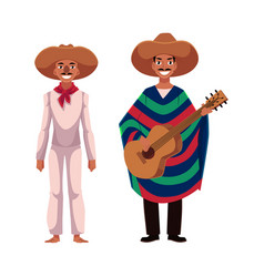 Mexican man in traditional national sombrero and vector