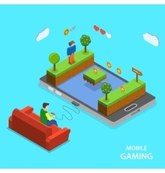 Mobile gaming flat isometric concept vector