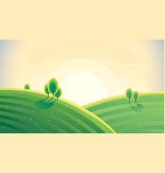 morning landscape with hills sunrise over hills vector image