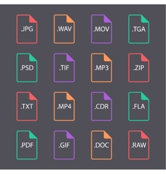 multicolored set document file formats vector image