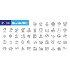 navigation location gps elements - thin line web vector image