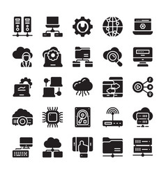 Network and cloud computing glyph icons vector