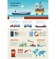 Oil Production And Transportation Infographics vector