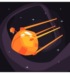 Old-school orange satellite flying on orbit vector