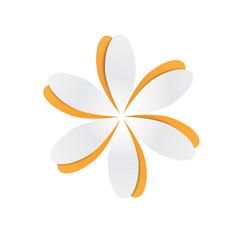 Orange paper cutout flower vector