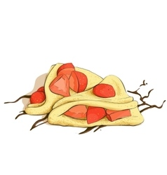 Pancakes with strawberries vector