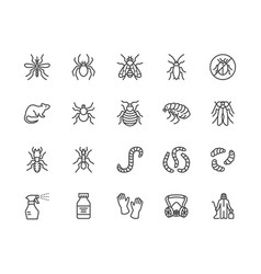 Pest control flat line icons set insects vector
