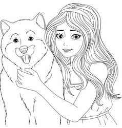 please young lady with a dog vector image