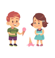 Polite children cute boy treats thankful girl vector