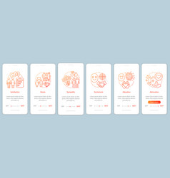 Relationship feelings onboarding mobile app page vector