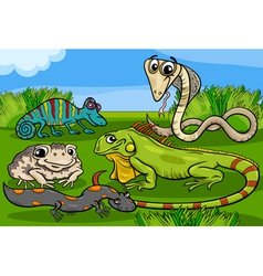 Reptiles and amphibians group cartoon vector