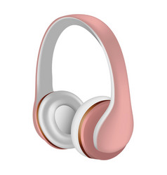rose headphones icon realistic style vector image