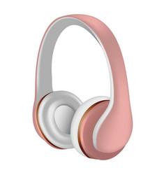 Rose headphones icon realistic style vector