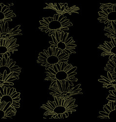 seamless pattern with drawing daisy flowers vector image