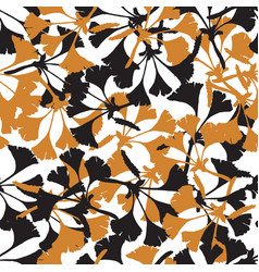 seamless pattern with ginkgo biloba vector image