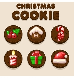 Set Cartoon Christmas Chocolate biskvit cookies vector