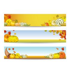 set horizontal autumn banners with pumpkins vector image