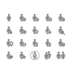 set human gray icon men with different vector image