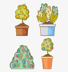 set of gardening cartoons vector image