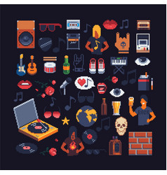 Set of music theme accessories pixel art sprites vector
