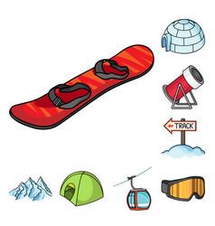 Ski resort and equipment cartoon icons in set vector