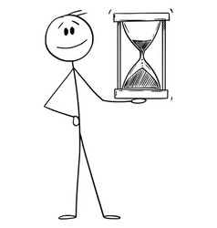 Smiling man or businessman holding hourglass vector