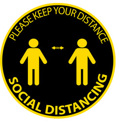 Stand here keep distance social distancing vector