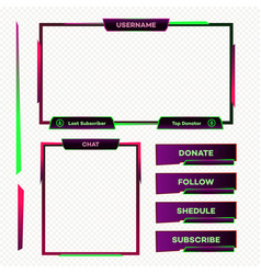 Streaming screen panel overlay game neon theme vector